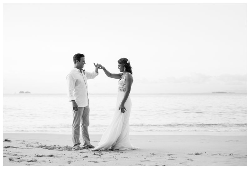 Bride and groom dancing on the beach. Wedding portraits on the beach in Costa Rica. Beach wedding in Playa Conchal Costa Rica photographed by Kristen M. Brown, Samba to the Sea Photography.