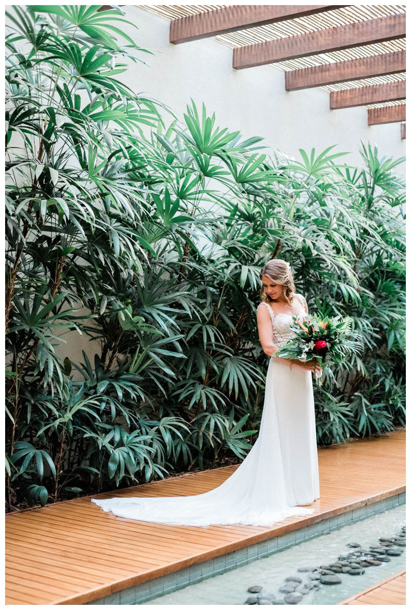 Bridal portrait in Reserva Conchal. Pronovias wedding dress. Beach wedding in Playa Conchal Costa Rica photographed by Kristen M. Brown, Samba to the Sea Photography.