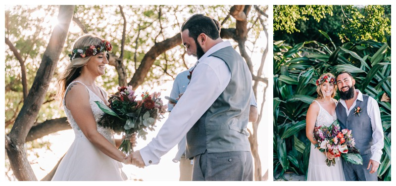 Elopement ceremony on the beach in Tamarindo Costa Rica. Photographed by Kristen M. Brown, Samba to the Sea Photography.