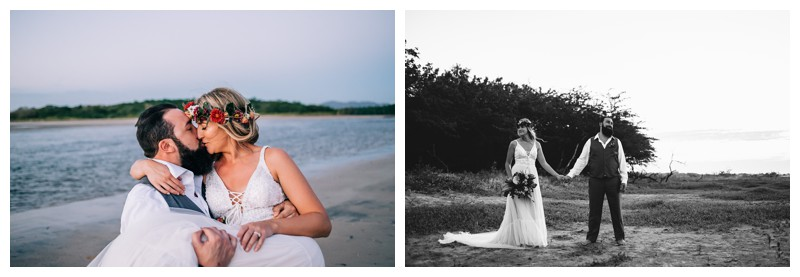 Bride and groom on the beach after their Costa Rica elopement. Elope to Tamarindo Costa Rica. Photographed by Kristen M. Brown, Samba to the Sea Photography.