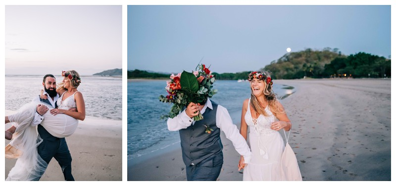 Bride and groom laughing on the beach after their Costa Rica elopement. Elope to Tamarindo Costa Rica. Photographed by Kristen M. Brown, Samba to the Sea Photography.