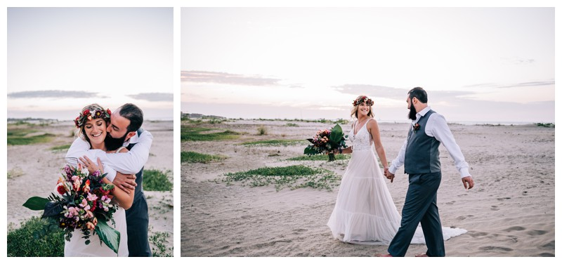 Bride and groom walking on the beach after their Costa Rica elopement. Elope to Tamarindo Costa Rica. Photographed by Kristen M. Brown, Samba to the Sea Photography.