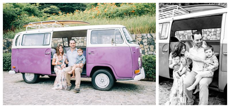 VW Bus family photo. Family Photos at the Andaz Costa Rica. Photographed by Kristen M. Brown, Samba to the Sea Photography.