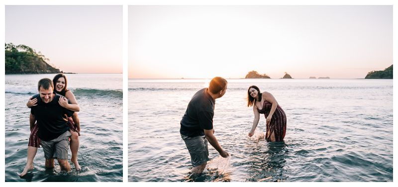 Husband and wife playing in the ocean during anniversary photos. Photographer in Las Catalinas Costa Rica. Photographed by Kristen M. Brown, Samba to the Sea Photography.