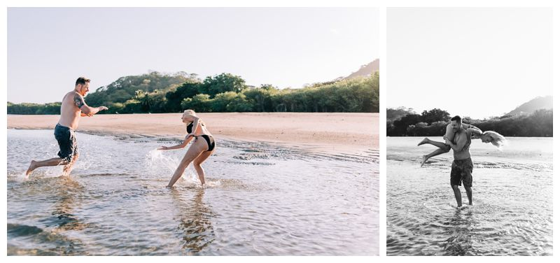 Couple playing in the ocean during sunrise engagement photos in Tamarindo Costa Rica. Photographed by Kristen M. Brown, Samba to the Sea Photography.