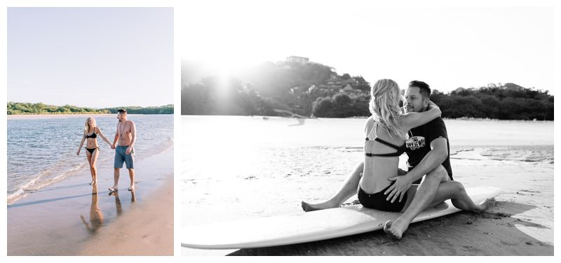 Sunrise engagement photos in Tamarindo Costa Rica. Photographed by Kristen M. Brown, Samba to the Sea Photography.