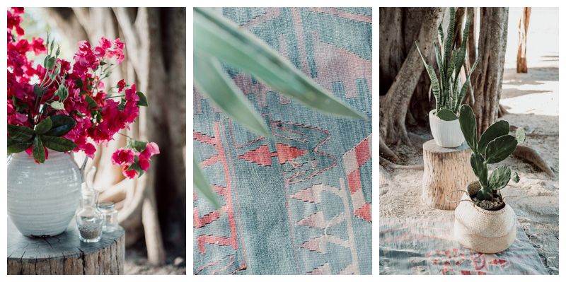 Bohomian elopement details with vintage Kilim rug, cactus, and Bougainvillea flowers. Tamarindo Costa Rica Elopement at Pangas Beach Club. Photographed by Kristen M. Brown, Samba to the Sea Photography.