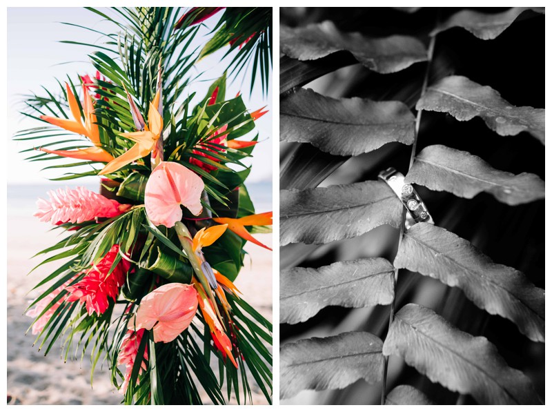 Tropical wedding details with Mostera leaf, birds of paradise flower, and anthurium (Hawaiian Heart) florals. Tropical wedding in Tamarindo Costa Rica. Photographed by Kristen M. Brown, Samba to the Sea Photography.