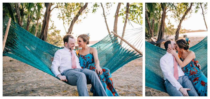 Bride and groom sitting in a hammock after their tropical wedding in Tamarindo Costa Rica. Photographed by Kristen M. Brown, Samba to the Sea Photography.