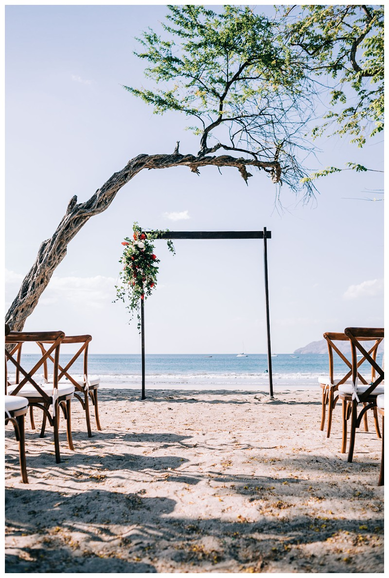 Wedding alter on the beach. Destination beach wedding in Tamarindo Costa Rica. Photographed by Kristen M. Brown, Samba to the Sea Photography.