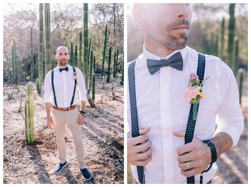 Groom portrait in cacti garden. Wedding at La Senda Labyrinth in Costa Rica. Photographed by Kristen M. Brown, Samba to the Sea Photography.