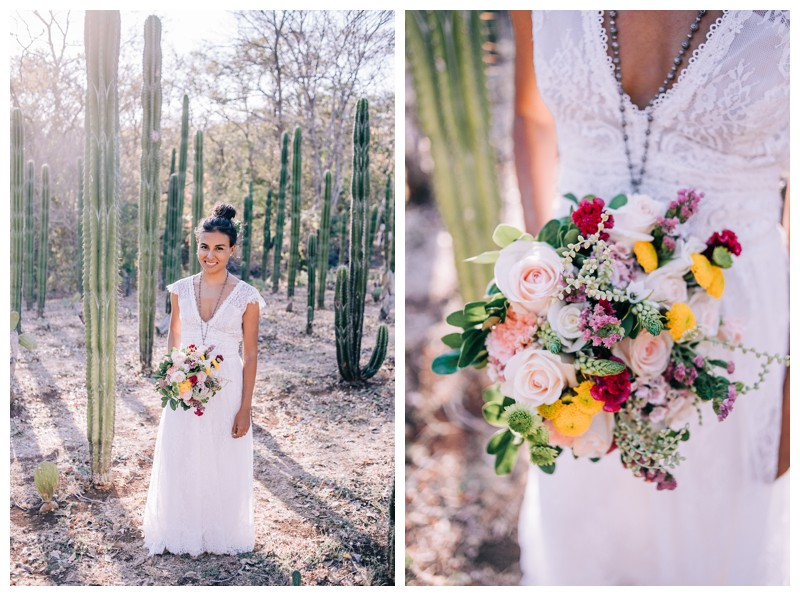 Bridal portrait in cacti garden. Wedding at La Senda Labyrinth in Costa Rica. Photographed by Kristen M. Brown, Samba to the Sea Photography.