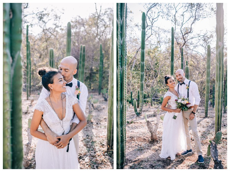 Bride and groom in cacti garden. Wedding at La Senda Labyrinth in Costa Rica. Photographed by Kristen M. Brown, Samba to the Sea Photography.