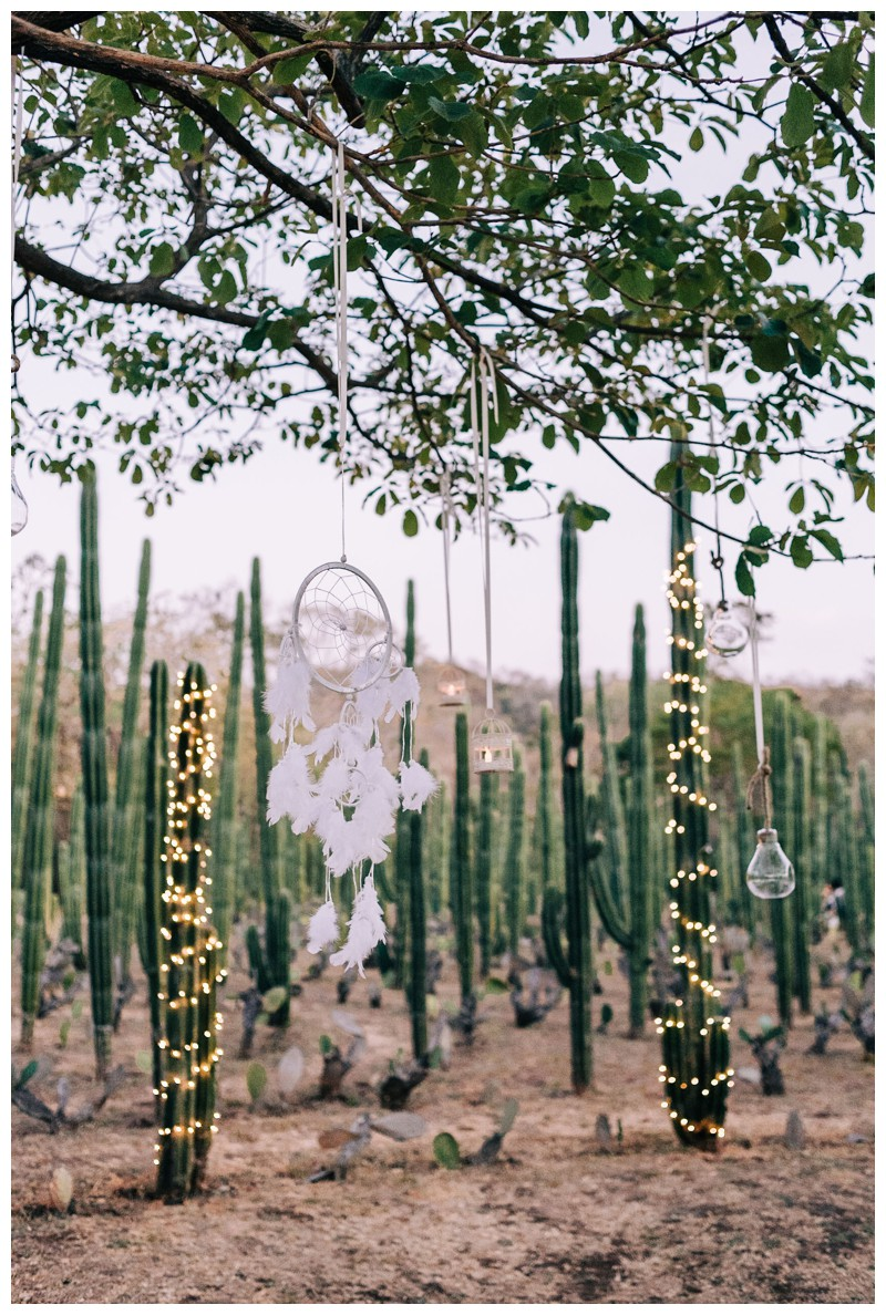 Dreamcatchers at wedding at La Senda Labyrinth in Costa Rica. Photographed by Kristen M. Brown, Samba to the Sea Photography.
