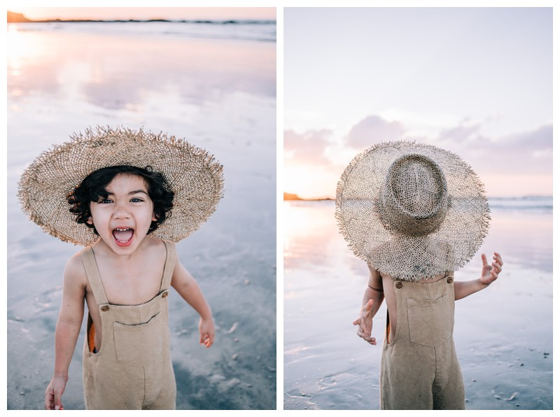 Little boy on the beach during sunset. Family photos at Hotel Capitan Suizo in Tamarindo Costa Rica. Photographed by Kristen M. Brown, Samba to the Sea Photography.