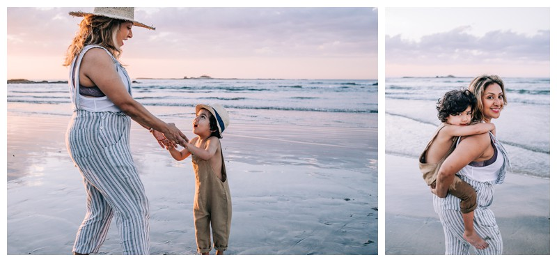 Little boy with his mom on the beach during family photos at Hotel Capitan Suizo in Tamarindo Costa Rica. Photographed by Kristen M. Brown, Samba to the Sea Photography.