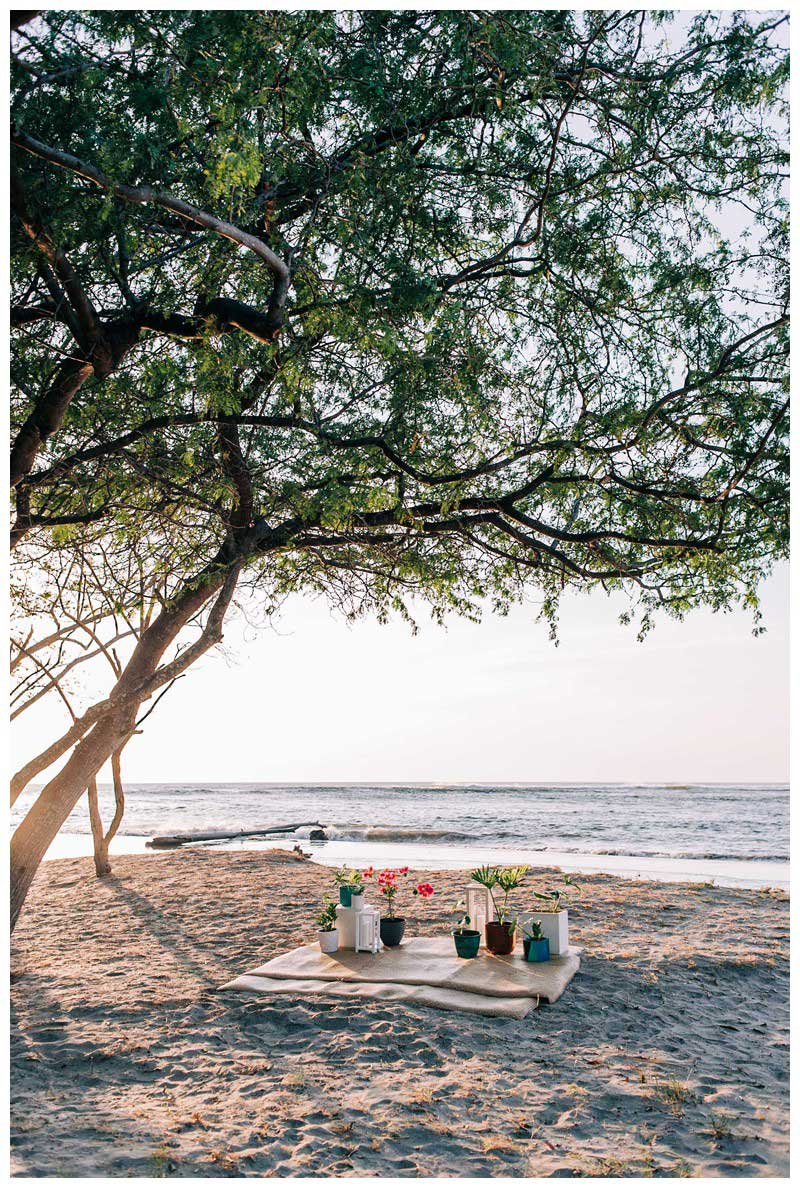 Seagrass beach rug and tropical plants for a golden hour beach proposal in Tamarindo Costa Rica. Photographed by Kristen M. Brown, Samba to the Sea Photography.