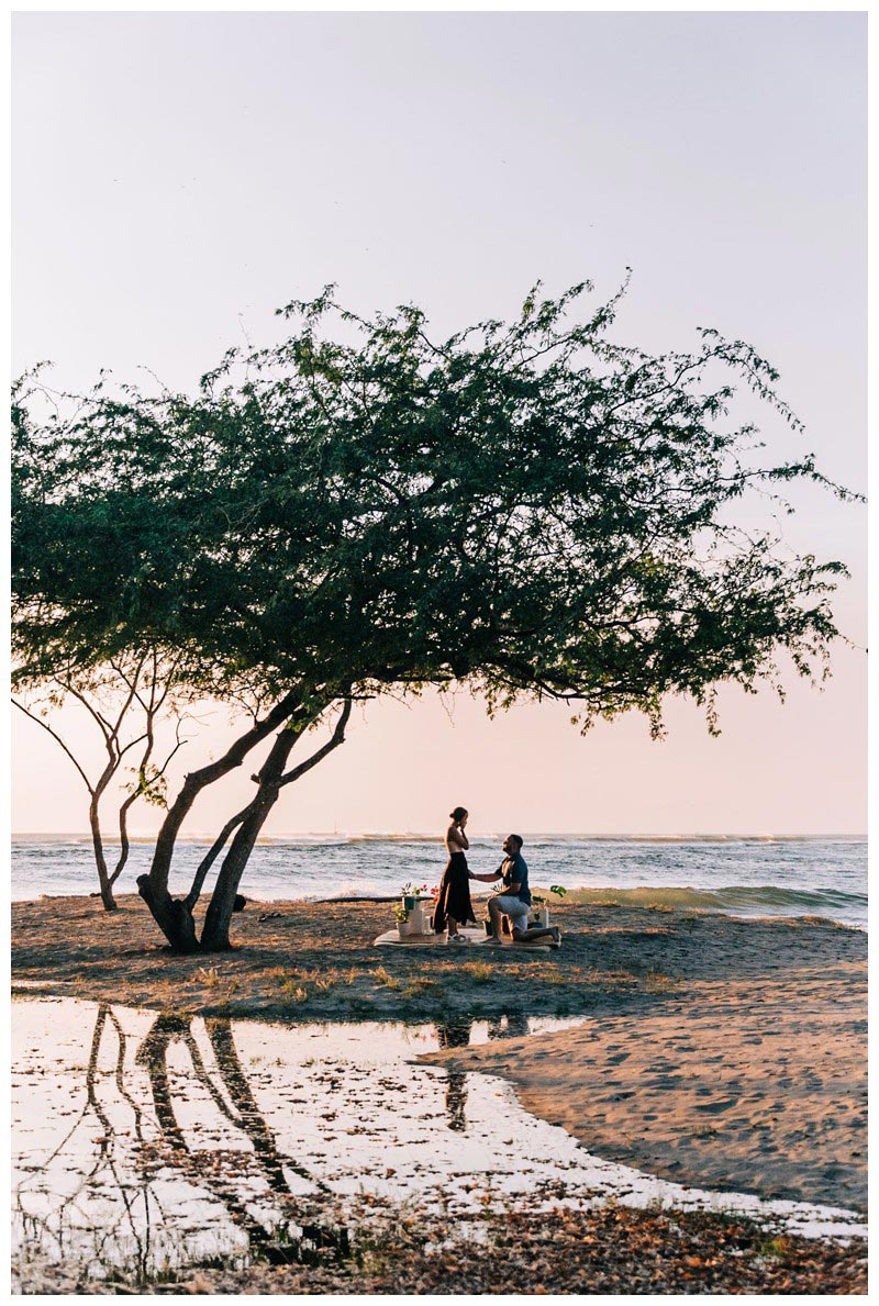 Golden hour beach proposal in Tamarindo Costa Rica. Photographed by Kristen M. Brown, Samba to the Sea Photography.
