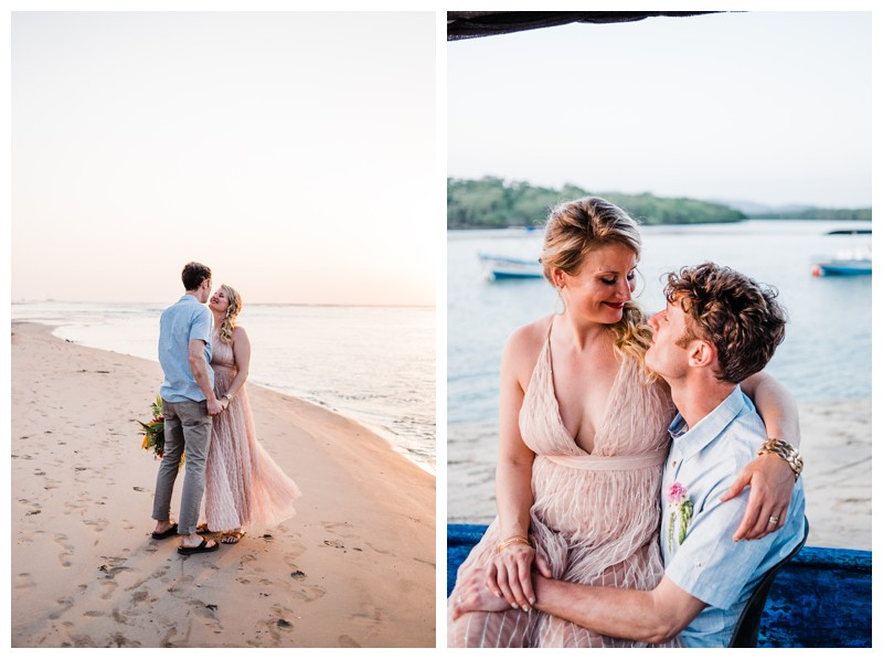 Bride and groom on the beach after their intimate destination beach wedding in Costa Rica. Photographed by Kristen M. Brown, Samba to the Sea Photography.