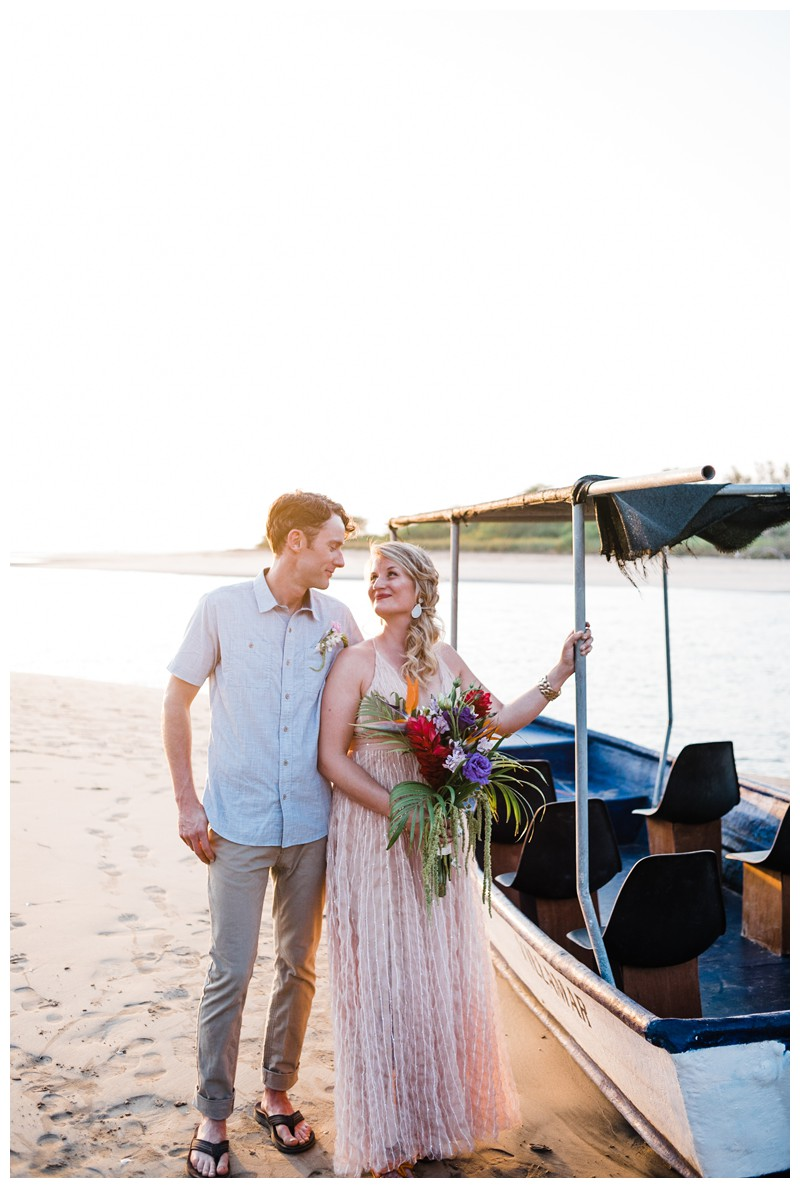 Bride and groom on the beach in Tamarindo Costa Rica during golden hour. Intimate destination beach wedding in Costa Rica. Photographed by Kristen M. Brown, Samba to the Sea Photography.