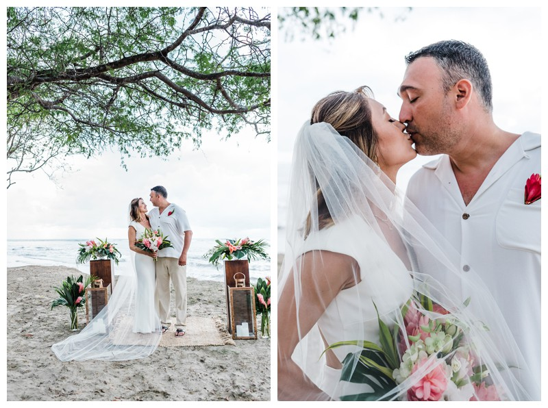 Elopement on the Beach in Tamarindo Costa Rica. Photographed by Kristen M. Brown, Samba to the Sea Photography.