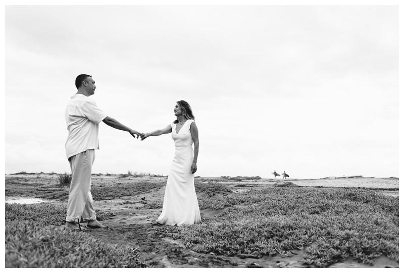 Husband and wife dancing on the beach. Elopement on the Beach in Tamarindo Costa Rica. Photographed by Kristen M. Brown, Samba to the Sea Photography.