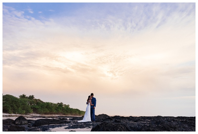 Bride + groom on the beach during sunset in Playa Langosta. Elopement in Playa Langosta Costa Rica at Cala Luna Boutique Hotel + Villas. Photographed by Kristen M. Brown, Samba to the Sea Photography.