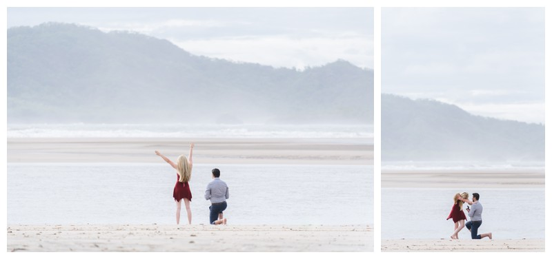 Surprise beach proposal in Tamarindo Costa Rica. Photographed by Kristen M. Brown, Samba to the Sea Photography.
