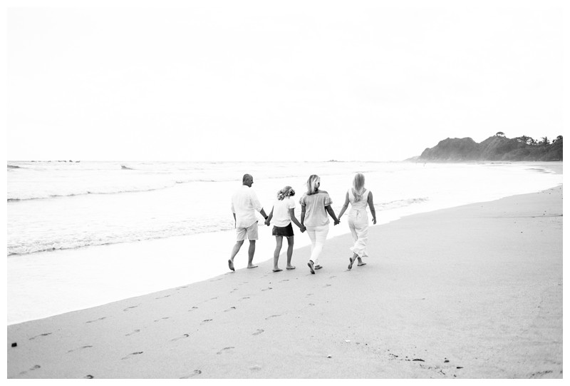Family walking on the beach in Nosara Costa Rica for family photos. Photographed by Kristen M. Brown, Samba to the Sea Photography.
