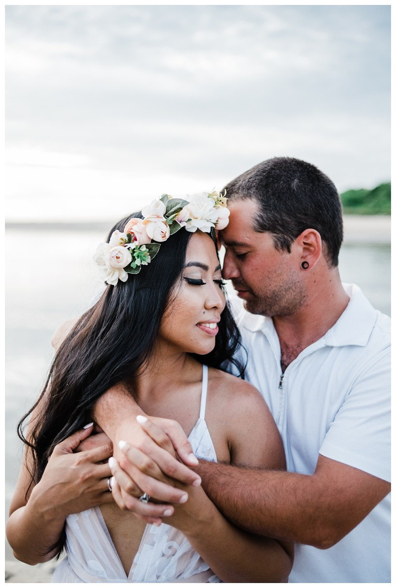 Romantic boho portrait of couple on the beach. Beach honeymoon photos in Tamarindo Costa Rica. Photographed by Kristen M. Brown, Samba to the Sea Photography.