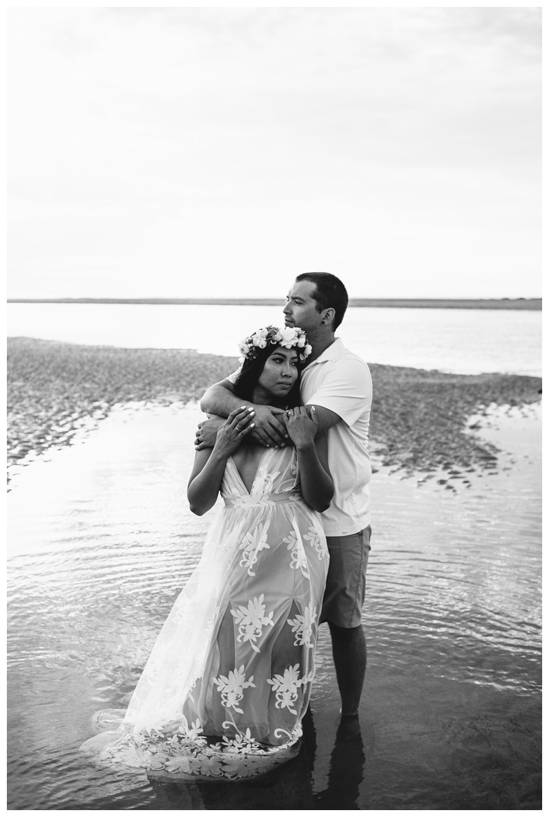 Romantic boho portrait of couple on the beach. Beach honeymoon photos in Tamarindo Costa Rica. Photographed by Kristen M. Brown, Samba to the Sea Photography.
