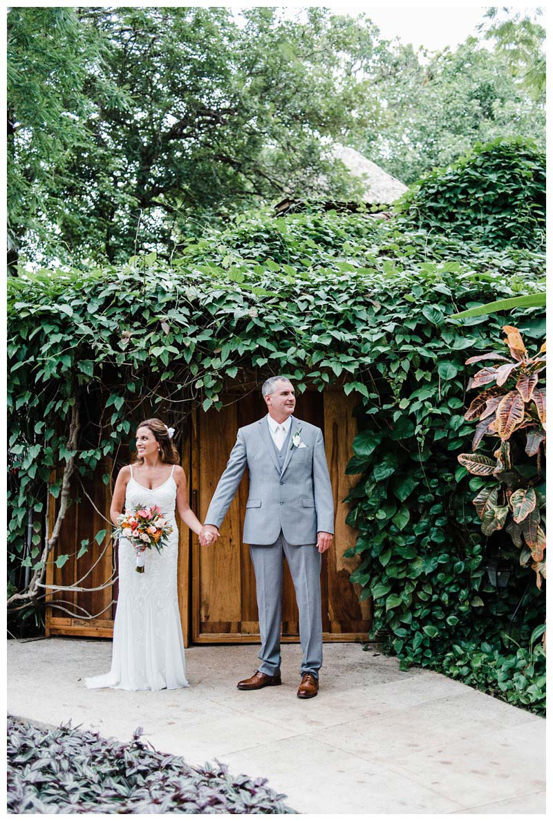 Bride and groom at Hotel Capitan Suizo. Sunset elopement in Tamarindo Costa Rica. Photographed by Kristen M. Brown, Samba to the Sea Photography.