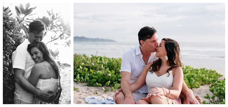 Engagement photos in Playa Guiones Costa Rica. Photographed by Kristen M. Brown, Samba to the Sea Photography.