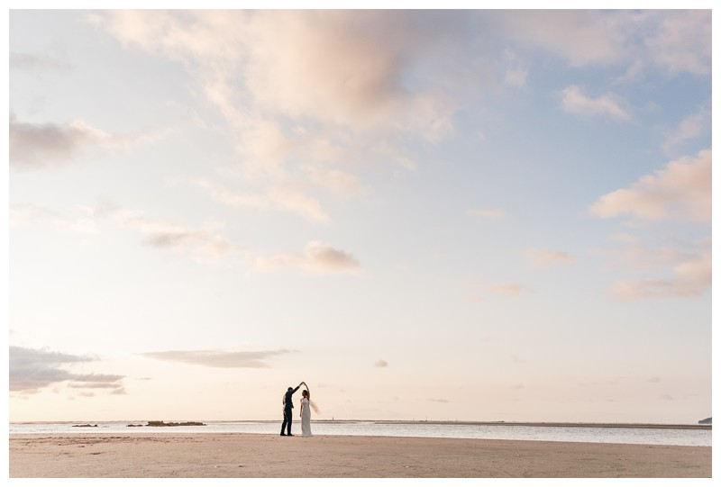 Bride and groom on the beach during sunset. Tamarindo wedding at Casa Compass in Costa Rica. Photographed by Kristen M. Brown, Samba to the Sea Photography.
