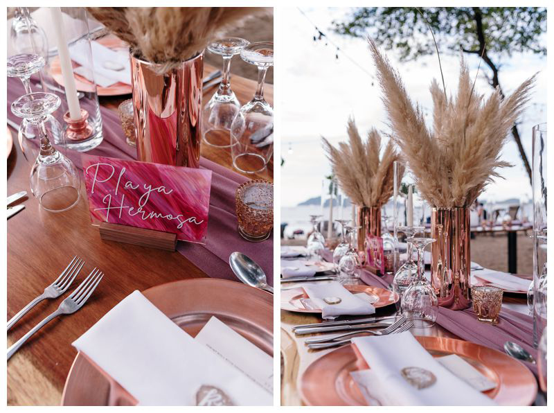 Pampas grass centerpieces and hand lettered signs. Intimate beach wedding in Tamarindo Costa Rica. Photographed by Kristen M. Brown, Samba to the Sea Photography.