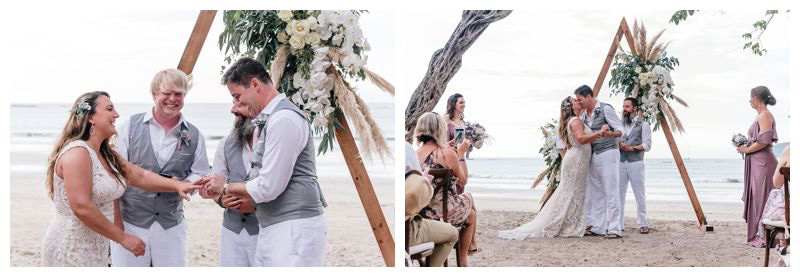 Intimate beach wedding in Tamarindo Costa Rica. Photographed by Kristen M. Brown, Samba to the Sea Photography.