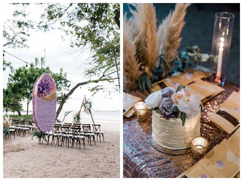 Surfboard piñata at intimate beach wedding in Tamarindo Costa Rica. Photographed by Kristen M. Brown, Samba to the Sea Photography.