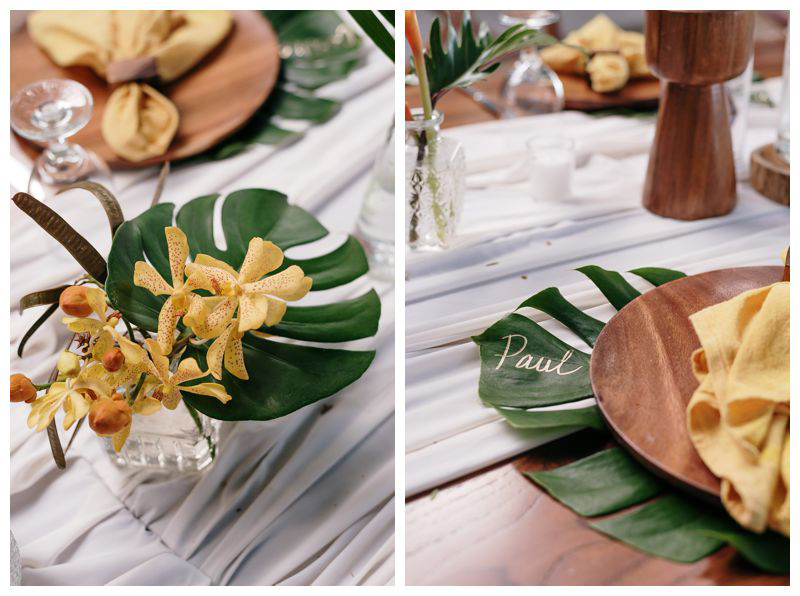 Monstera leaf placemats. Intimate destination beach wedding in Tamarindo Costa Rica. Photographed by Kristen M. Brown, Samba to the Sea Photography.
