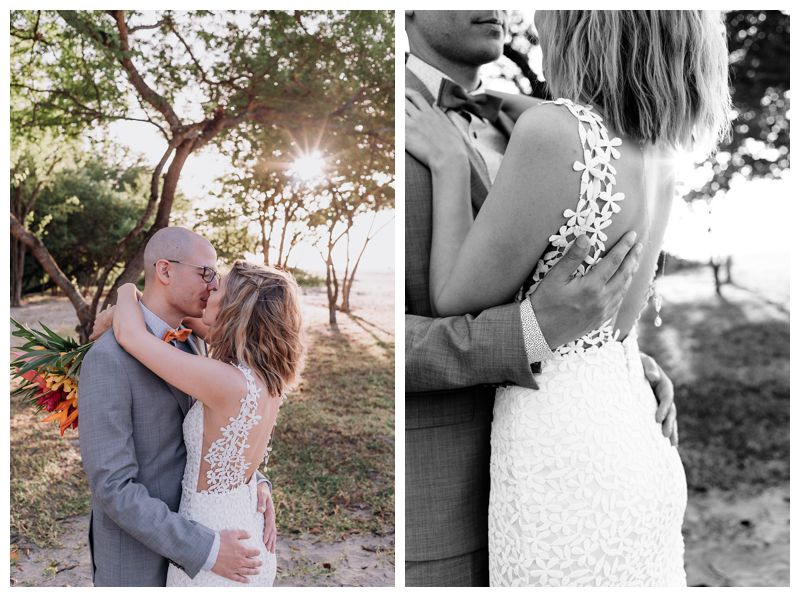 Bride and groom kissing on the beach. Intimate destination beach wedding in Tamarindo Costa Rica. Photographed by Kristen M. Brown, Samba to the Sea Photography.