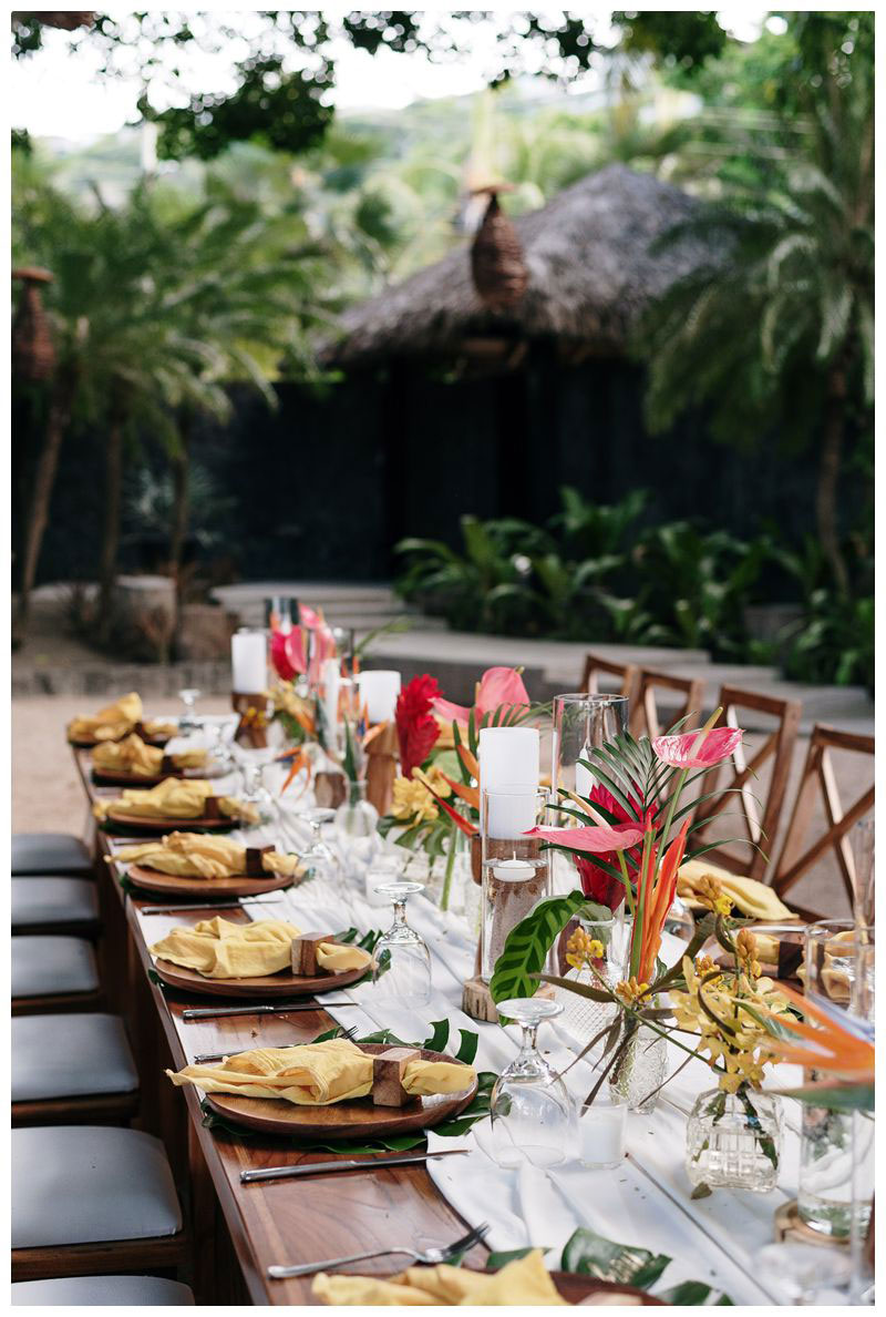 Tropical intimate destination beach wedding in Tamarindo Costa Rica at Pangas Beach Club. Photographed by Kristen M. Brown, Samba to the Sea Photography.