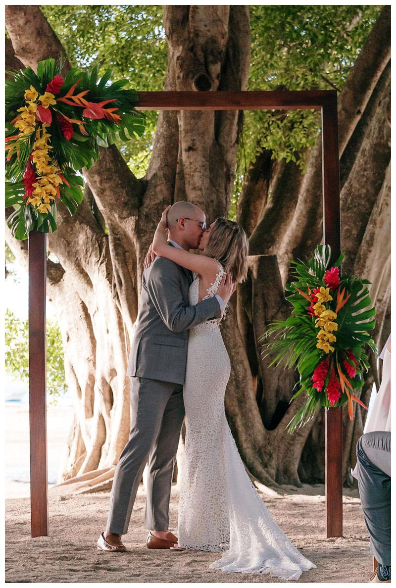 Bride and groom kissing under the tree at Pangas Beach Club. Tropical intimate destination beach wedding in Tamarindo Costa Rica at Pangas Beach Club. Photographed by Kristen M. Brown, Samba to the Sea Photography.