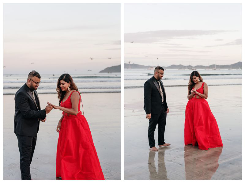 Sunrise beach engagement photos in Tamarindo Costa Rica. Photographed by Kristen M. Brown, Samba to the Sea Photography.