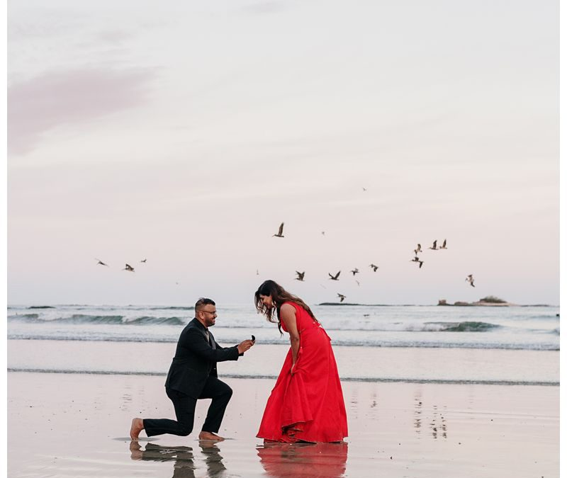 Sunrise Beach Engagement Photos in Tamarindo || Sintha + Vinny