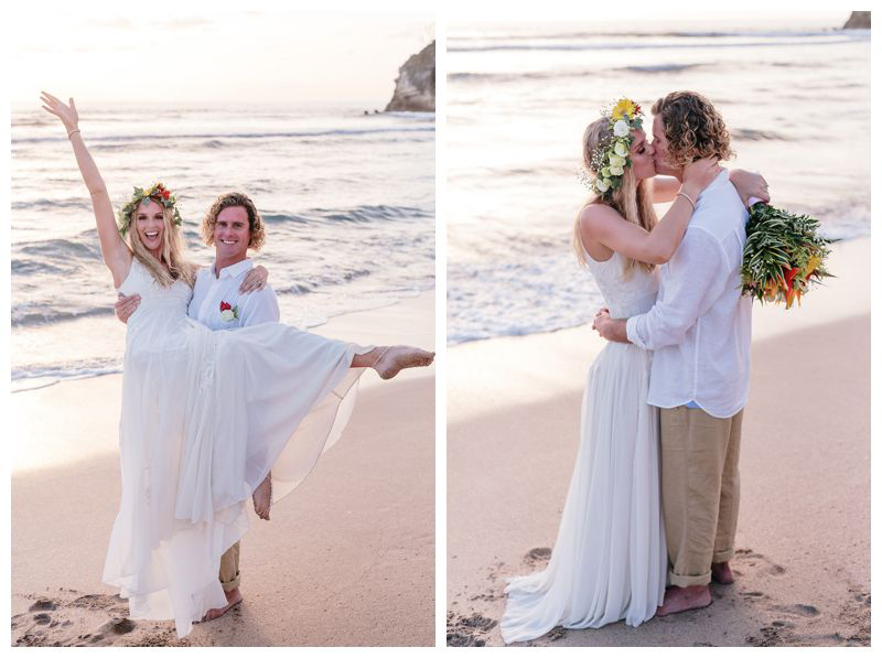 Bride and groom kissing on the beach. Intimate destination wedding at Lagarta Lodge in Playa Pelada Costa Rica. Photographed by Kristen M. Brown, Samba to the Sea Photography.