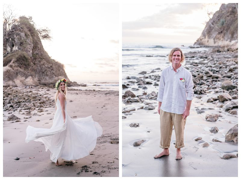 Bride and groom on the beach. Intimate destination wedding at Lagarta Lodge in Playa Pelada Costa Rica. Photographed by Kristen M. Brown, Samba to the Sea Photography.