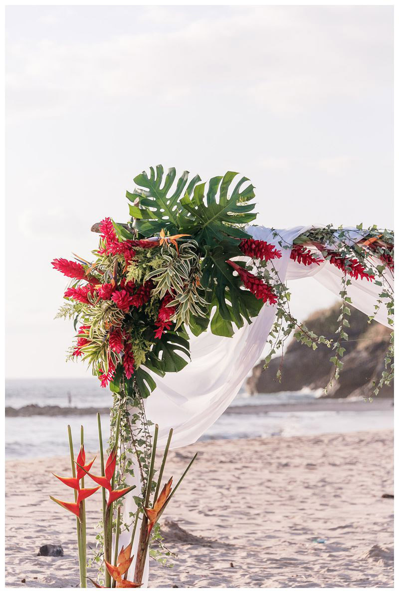Tropical wedding flowers. Intimate destination wedding at Lagarta Lodge in Playa Pelada Costa Rica. Photographed by Kristen M. Brown, Samba to the Sea Photography.