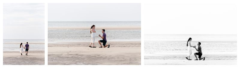 Romantic proposal on the beach in Tamarindo Costa Rica. Photographed by Kristen M. Brown, Samba to the Sea Photography.