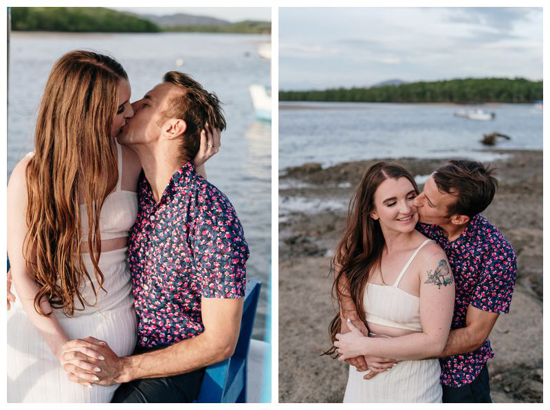 Engagement photos on the beach. Romantic proposal on the beach in Tamarindo Costa Rica. Photographed by Kristen M. Brown, Samba to the Sea Photography.