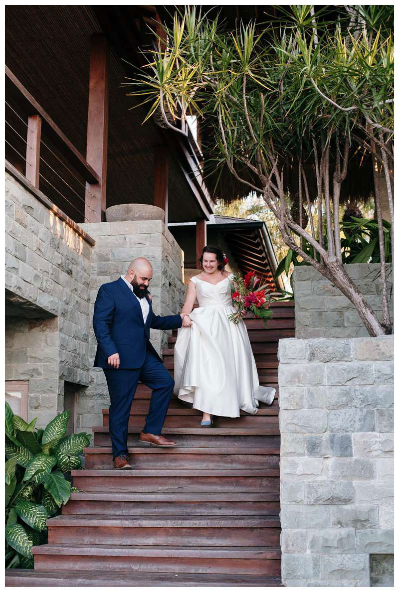 Bride and groom at their intimate wedding in Tamarindo Costa Rica at Alang Alang. Photographed by Kristen M. Brown, Samba to the Sea Photography.
