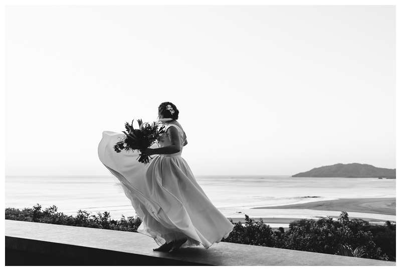 Bride dancing at her intimate wedding in Tamarindo Costa Rica at Alang Alang. Photographed by Kristen M. Brown, Samba to the Sea Photography.